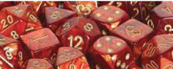 D6 -- 12Mm Scarab Dice, Scarlet/Gold, 36Ct - Boardlandia