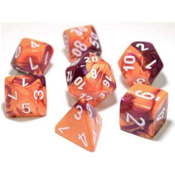 7ct Lab Dice Gemini Poly Set, Orange and Purple / White (Pre-Order)