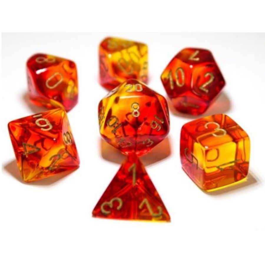 7ct Lab Dice Gemini Poly Set, Red and Yellow / Gold