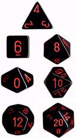 7CT OPAQUE POLY BLACK/RED DICE SET - Boardlandia