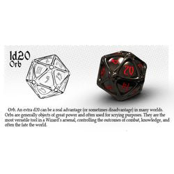 Polyhero Dice: D20 Orb - Ethereal Ice With Burning Blue - Boardlandia