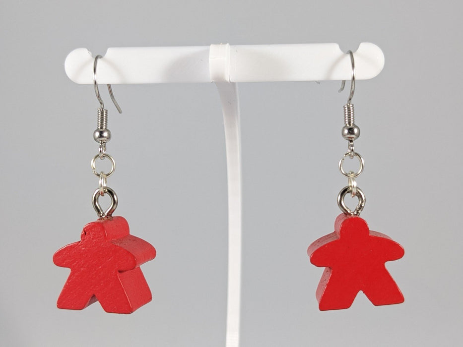 Meeple Earrings: Hanging - Red