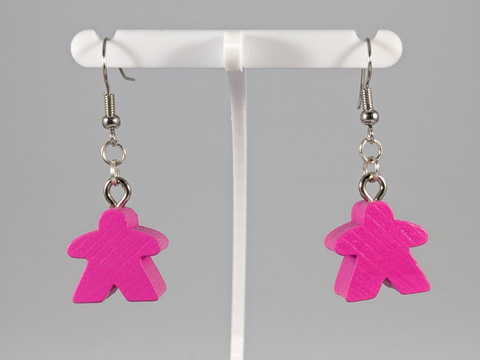 Meeple Earrings: Hanging - Pink