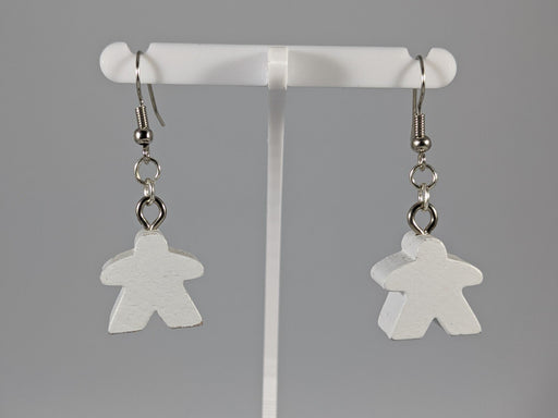 Meeple Earrings: Hanging - White