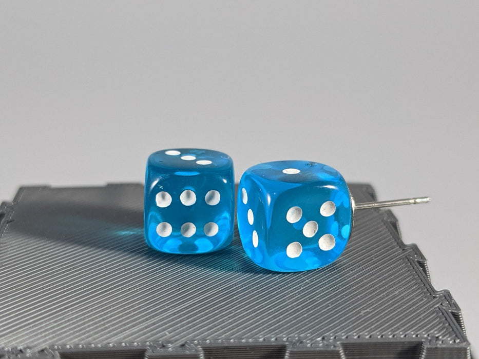 Mini Dice Earrings: D6 Posts (Pips) - Aqua