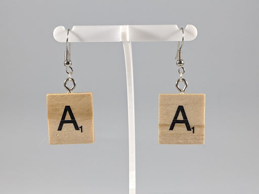 Scrabble Earring: Light Natural - A