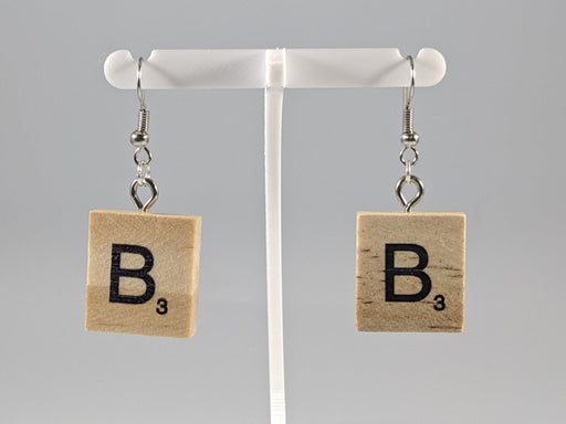 Scrabble Earring: Light Natural - B