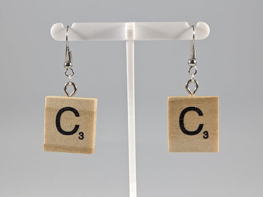 Scrabble Earring: Light Natural - C