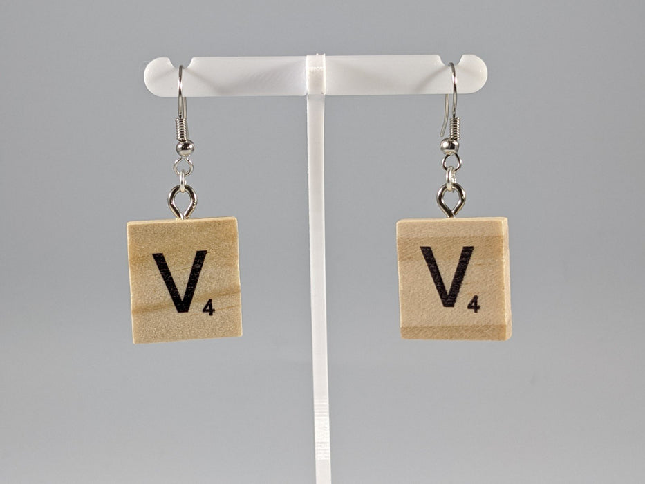 Scrabble Earring: Light Natural - V