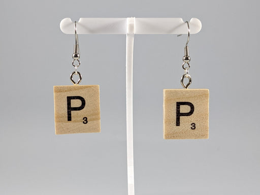 Scrabble Earring: Light Natural - P