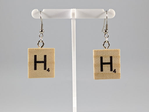 Scrabble Earring: Light Natural - H