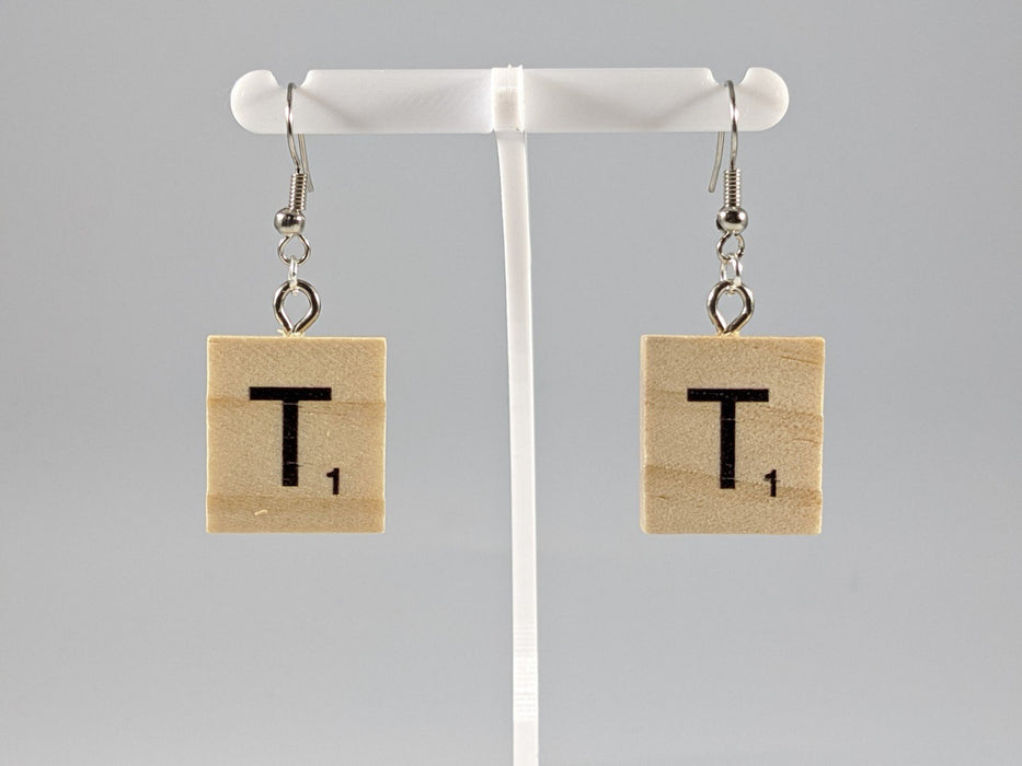 Scrabble Earring: Light Natural - T