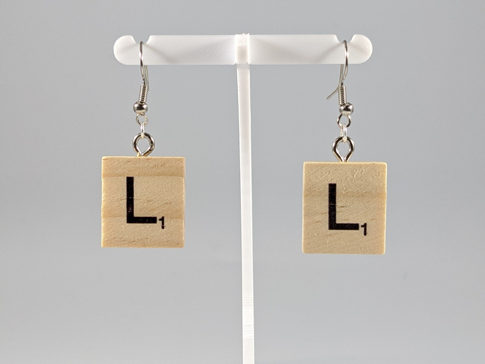 Scrabble Earring: Light Natural - L
