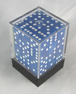 Square Cornered Dice D6 12Mm Blue/White - Boardlandia