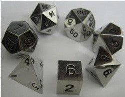 7 COUNT METALLIC POLY DICE SET, SILVER