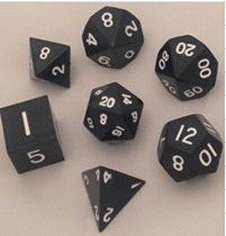 7 COUNT METALLIC POLY DICE SET, BLACK