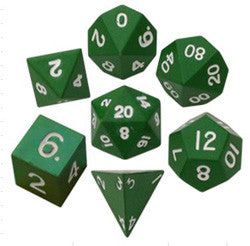 7 COUNT 16MM METALLIC POLY DICE SET, PAINTED GREEN