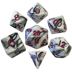 7 Count Dice set - 16 mm Marble with Purple Numbers (1037)