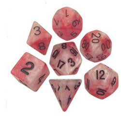 7 COUNT 16MM POLY DICE SET, RED-WHITE W/GOLD