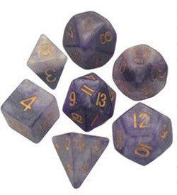 7 COUNT POLY DICE SET, BLUE-WHITE W/GOLD