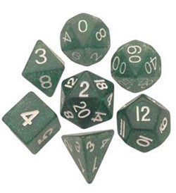 7 COUNT 16MM ETHEREAL GLITTER POLY DICE SET, GREEN