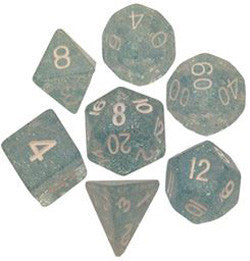 7 COUNT 16MM ETHEREAL GLITTER POLY DICE SET, LIGHT BLUE