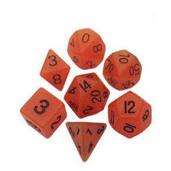 7 COUNT 16MM RESIN GLOW POLY DICE SET, ORANGE