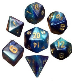 7 COUNT MINI DICE POLY SET: LIGHT BLUE/DARK BLUE WITH GOLD NUMBERS