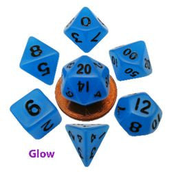 7 COUNT MINI RESIN GLOW POLY DICE SET, BLUE