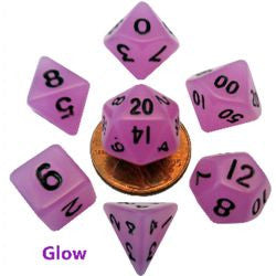 7 COUNT MINI RESIN GLOW POLY DICE SET, PURPLE
