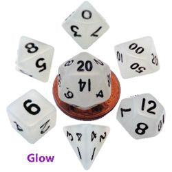 7 COUNT MINI RESIN GLOW POLY DICE SET, CLEAR