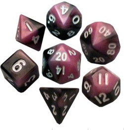 7 COUNT MINI DICE POLY SET: PINK/BLACK WITH WHITE NUMBERS