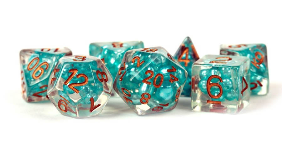 7 Count Dice Poly Set: Resin Pearl Teal with Copper