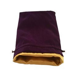 "6""X8"" PURPLE VELVET DICE BAG WITH GOLD SATIN LINING - Boardlandia"