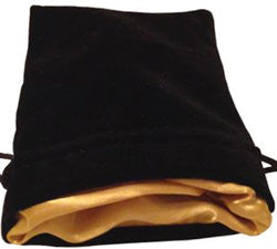 "4""X6"" BLACK VELVET DICE BAG WITH GOLD SATIN LINING - Boardlandia"