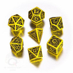 Celtic 3D Dice Set (7) Yellow And Black - Boardlandia