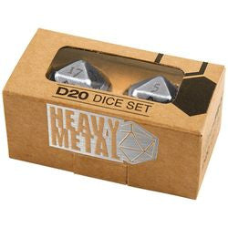 Heavy Metal D20 2-Dice Set - Chrome (84900) - Boardlandia
