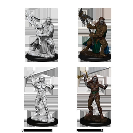 Deep Cuts Unpainted Miniatures - Half-Orc Fighter