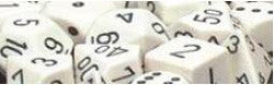 7CT OPAQUE POLY WHITE/BLACK DICE SET
