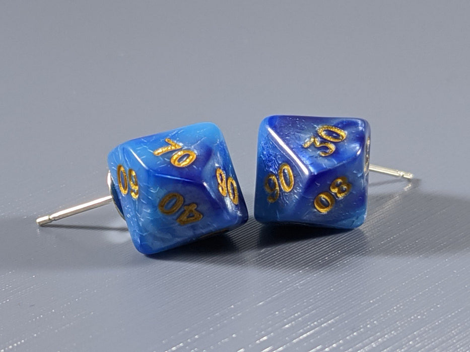 Mini Dice Earrings: D10 (10's) Posts - Blue