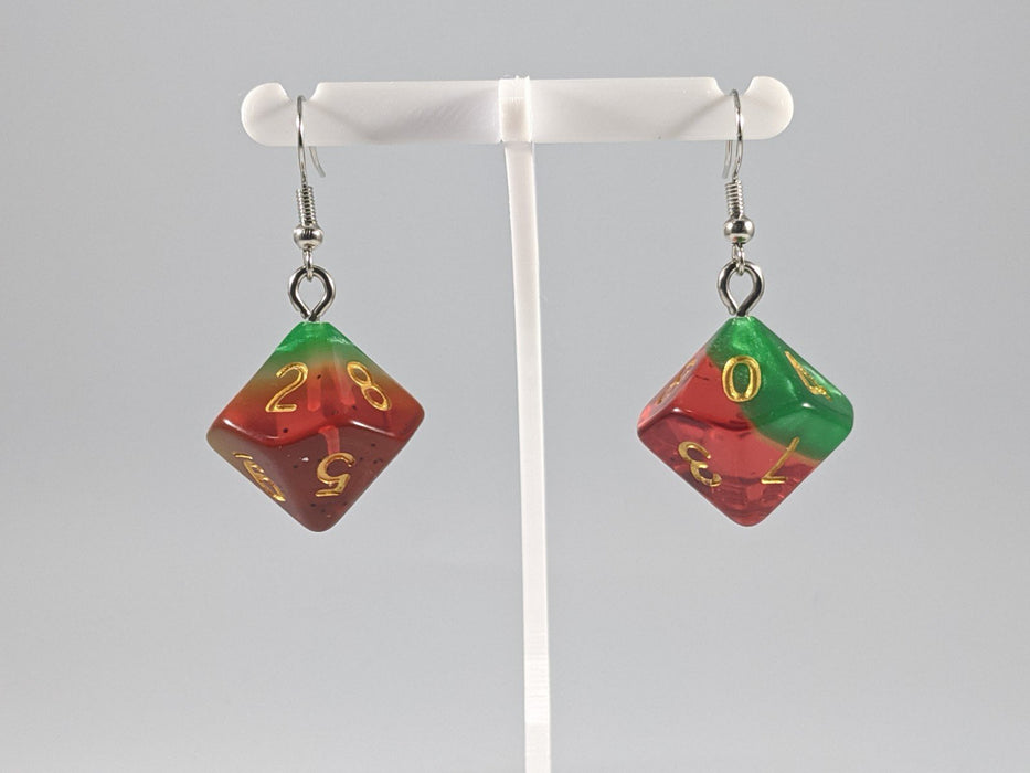 Dice Earrings: D10 (1's) - Red and Green