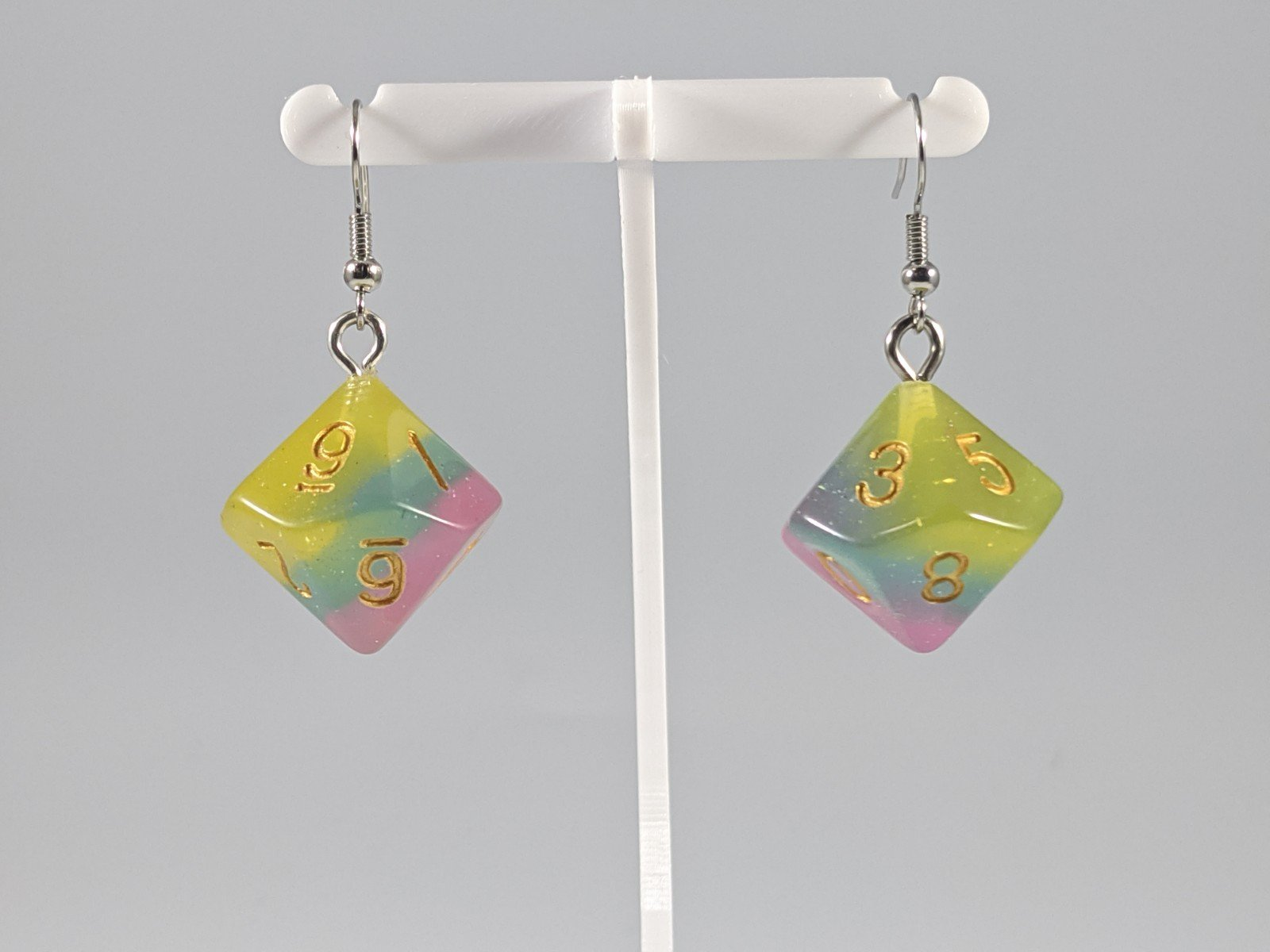 Dice Earrings: D10 (1's) - Cotton Candy