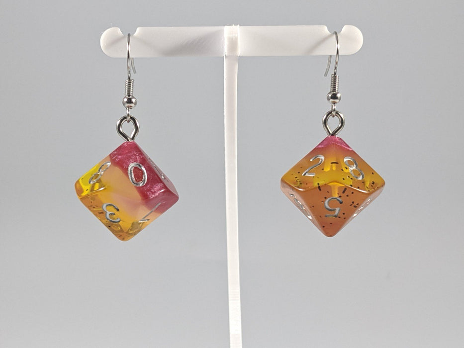Dice Earrings: D10 (1's) - Fire and Ash