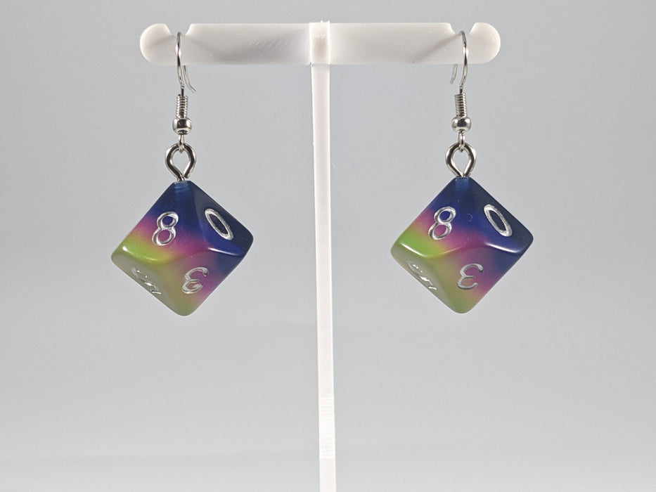 Dice Earrings: D10 (1's) - Blue, Green, and Pink