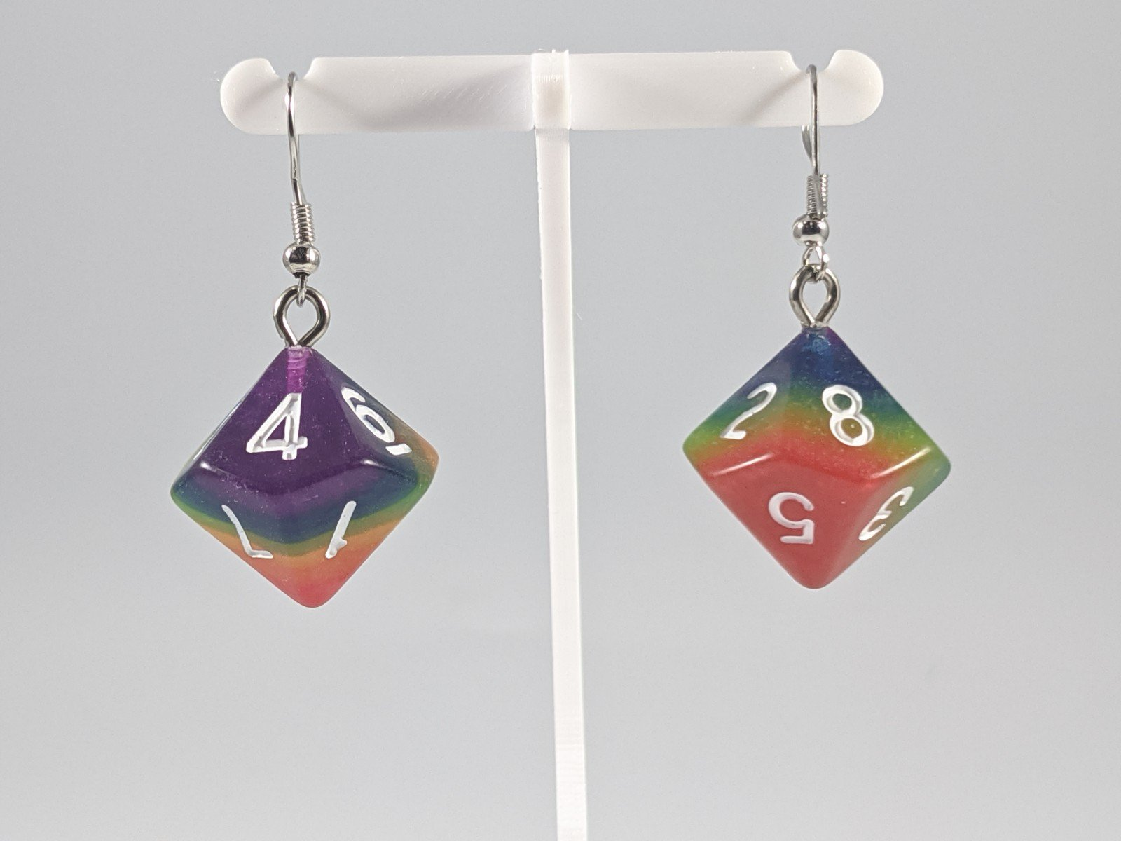Dice Earrings: D10 (1's) - Dark Rainbow