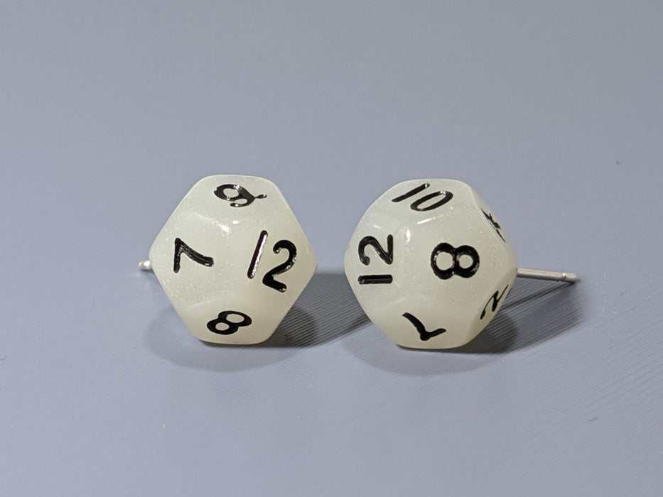 Mini Dice Earrings: D12 Posts - Glow in the Dark (White)