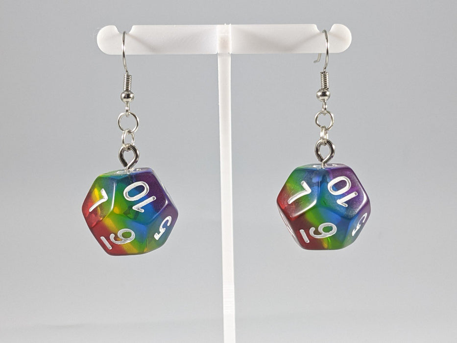 Dice Earrings: D12 - Rainbow