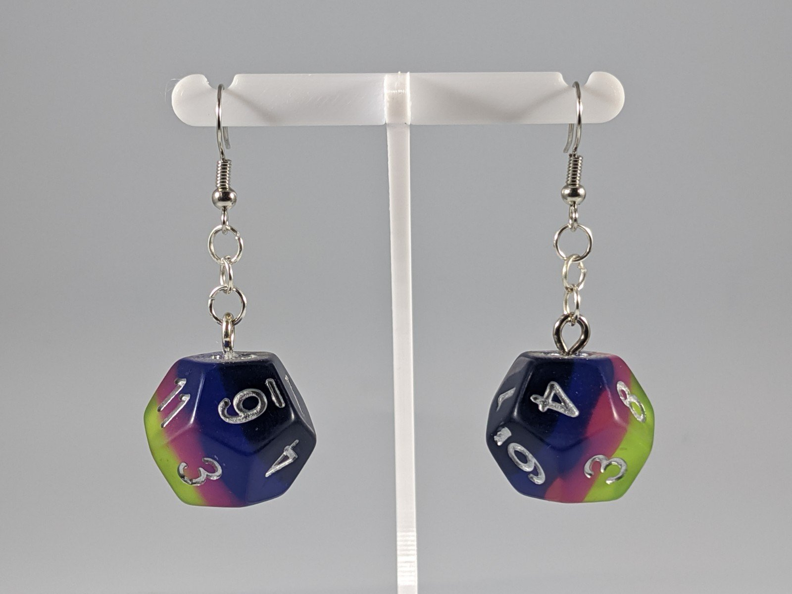 Dice Earrings: D12 - Yellow, Pink, Blue, and Purple
