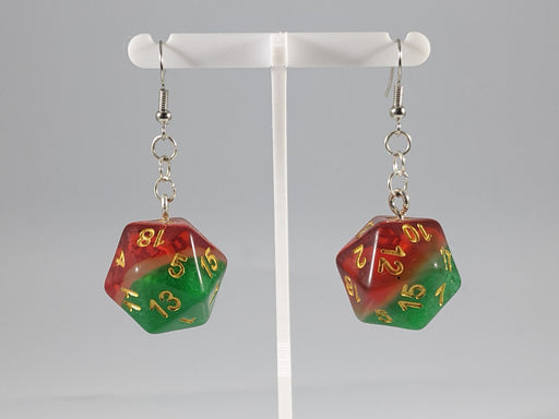 Dice Earrings: D20 - Red and Green