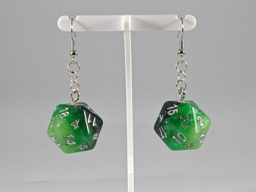 Dice Earrings: D20 - Green Gradient